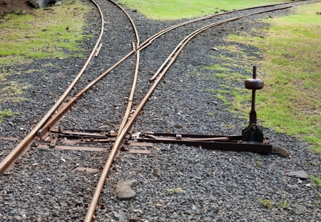 railway points: Fragment of the ancient Narrow Gage Railway with an arrow
