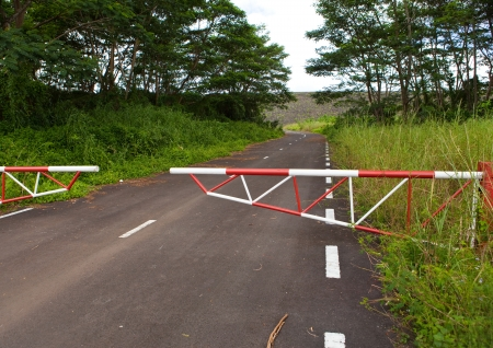 limitations: The road blocked by a gate Stock Photo