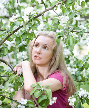young attractive woman standing near the blossoming apple tree. Stock Photo - 27646171