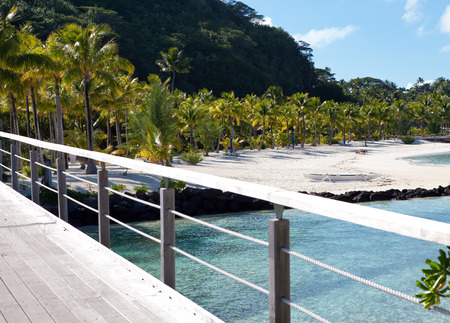 borabora: wooden bridge on the tropical island Stock Photo
