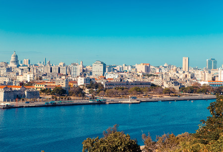 Havana. View of the old city through a bay from Morros fortress,with a retro effect photo
