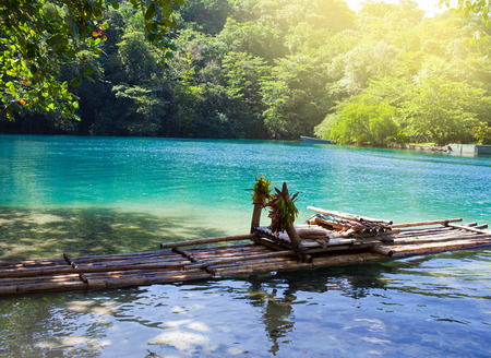 Raft on the bank of the Blue lagoon, Jamaica Imagens - 31271804