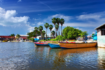 Jamaica. National boats on the Black river. Banque d'images