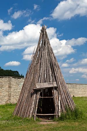 citadel: Traditional Estonian tent - koda-in Narva citadel , Estonia Stock Photo