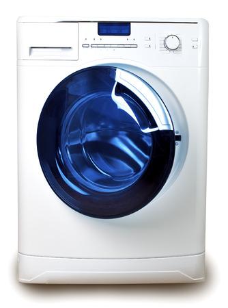 capacious: The washing machine on a white  Stock Photo