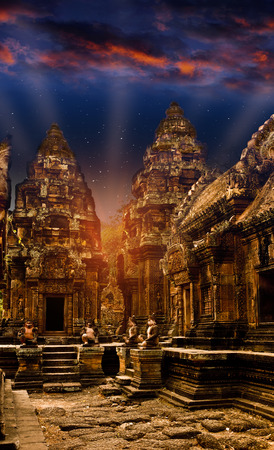 Mystical temples of Cambodia at night, before sunrise photo