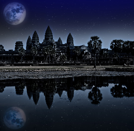 Angkor wat night, Siem reap, Cambodia, UNESCO World Heritage. Elements of this image furnished by NASA. photo