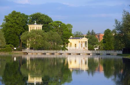peterhof: Russia, Peterhof (Petrodvorets). Olgas Pavilion on  island in Olgas pond. Stock Photo