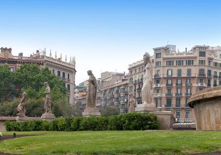 catalunya: Spain. Barcelona. Fountain in placa de Catalunya