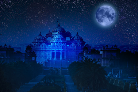 India. Delhi. The temple Akshardham by the light of the full Moon.   photo
