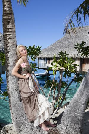 borabora: The beautiful woman with a rose at a palm tree. Bora-bora, Tahiti