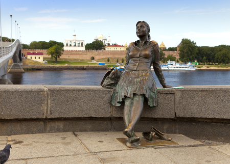 volkhov: GREAT NOVGOROD - JULY 22: Sculpture The girl on the bridgeon July 22, 2010 in Great Novgorod, Russia Editorial