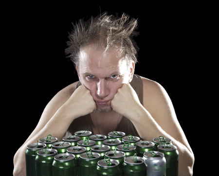 near beer: tipsy man near empty beer jars