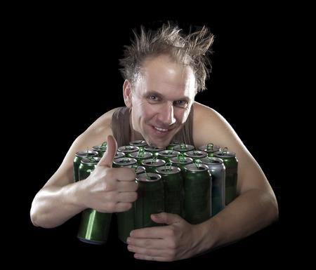 near beer: The happy tipsy man near empty beer jars