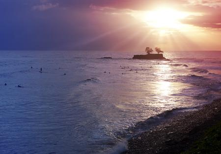 polynesia: Sunset over the sea. Tahiti, French Polynesia