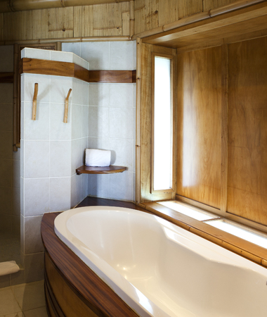 natural materials: bathroom finished with natural materials Stock Photo