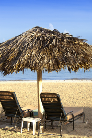 lounges: Umbrella and chaise lounges on a beach