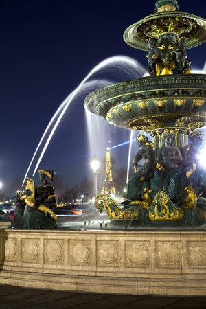 concorde: PARIS, FRANCE, MARCH 15, 2012: Fountain in Place de la Concorde at night, on  March 14, 2012 in  Paris, France
