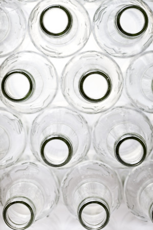 tare: empty bottles, the top view, small depth of sharpness on a neck