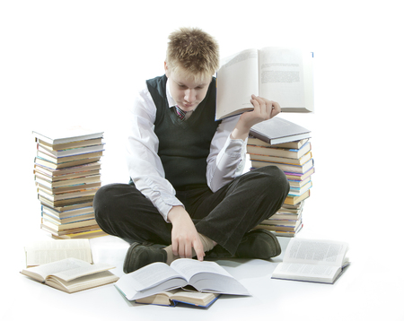 assignment: The teenager with a heap of textbooks. Was tired of homeworks.