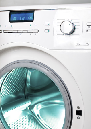 capacious: The washing machine, close up of the display, the manhole Stock Photo