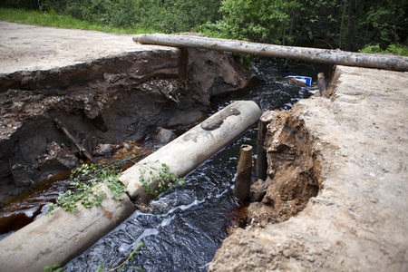 gully: The gully which destroyed the road. Russia, rural areas Stock Photo