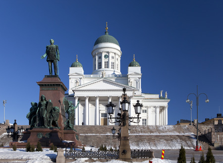 lutheran: Lutheran cathedral and monument to Russian Emperor Alexander II in Helsinki, Finland Editorial