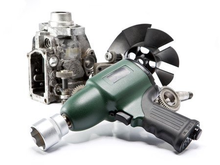 impact wrench: Car repair - details of the pump of high pressure, air impact wrench