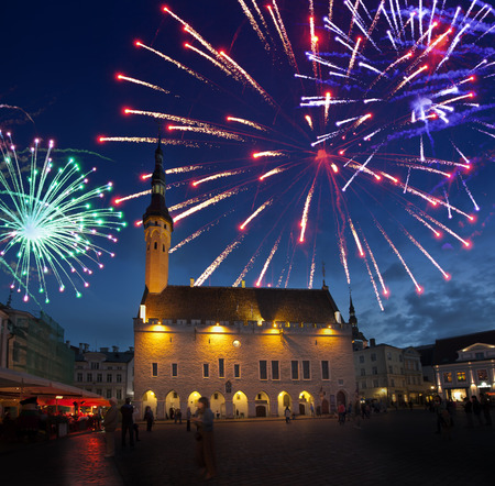 town hall square: Fireworks celebrating over the Town hall square. Tallinn. Estonia. Stock Photo
