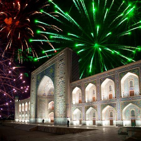 registan: Festive fireworks over the square Registan, Samarkand. Uzbekistan. Editorial