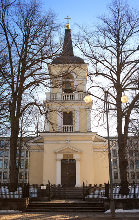 neo classical: Belltower of Holy Trinity Church, Helsinki. Was built in the neo classical style in 1826 Stock Photo