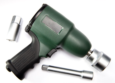 impact wrench: pneumatic, air impact wrench and nozzles Stock Photo