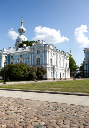 convent: Smolnyi  cathedral (Smolny Convent), St. Petersburg Stock Photo