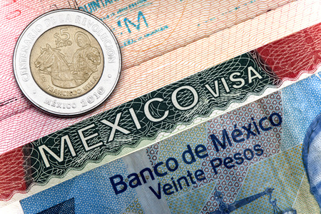 customs official: The visa of Mexico in the Russian international passport and Mexican pesos Stock Photo