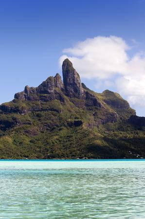 borabora: View of the Otemanu mountain  and ocean. Bora-Bora. Polynesia