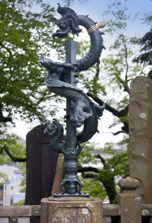 japanese dragon statue in a Shinsho Temple, Narita, Japan Stock Photo