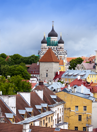 nevsky: Tallinn. Old city. Red roofs of houses and Alexander Nevsky Cathedral Stock Photo