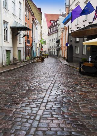 pool halls: Old citys  streets after the rain. Tallinn. Estonia Stock Photo