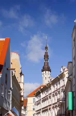 guild hall: Old city, Tallinn, Estonia. Old houses on the street and a town hall tower.