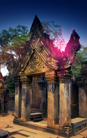Banteay Srey Temple ruins (Xth Century)  on a sunset, Siem Reap, Cambodia