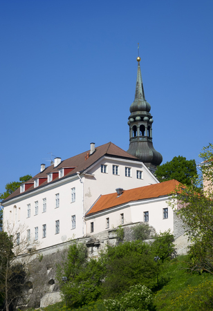 View of houses on the hill Toompea hill and St.Mary Church. Old city, Tallinn, Estonia.