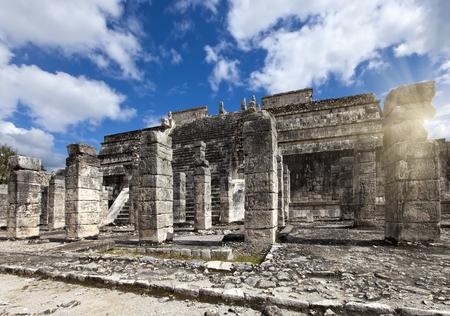 itza: Hall of the Thousand Pillars - Columns at Chichen Itza, Mexico