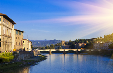 arno: View of Florence. Bridge over the Arno River