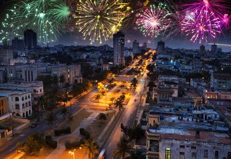 fireworks over Havana, Cuba
