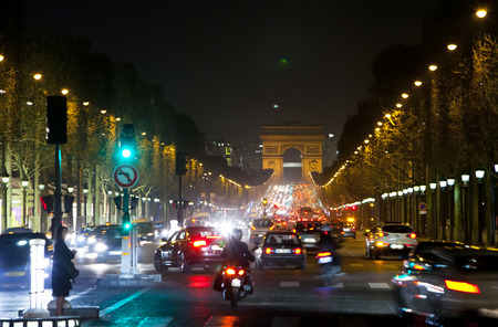 champs elysees: Night fires of cars on the Champs Elysee. Paris