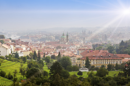 stare mesto: Prague, top view of Old Town roofs in the old city of Prague (Stare Mesto)   Stock Photo