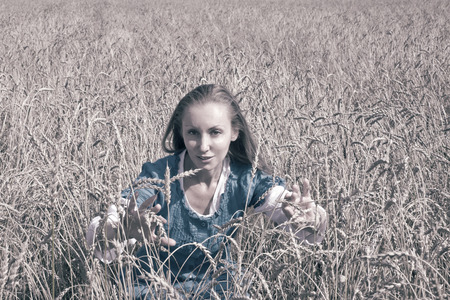 The beautiful woman in a blue long dress in the field of ripe ears of cereals, toning photo