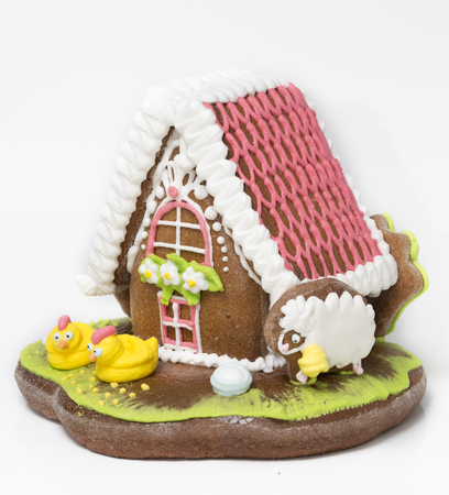 PRAGUE, CZECH REPUBLIC- SEPTEMBER 28, 2014: the traditional gingerbread house from shop duty free at the airport Editorial