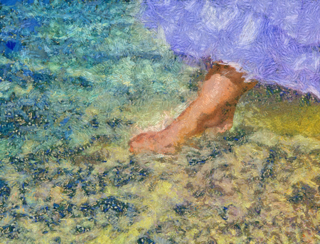 wedding dress: foot of the bride touches water in the sea