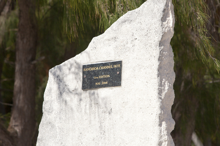 POLINESIA- JUNE 16: A memorable stone in honor of boats races on Island Tikehau on june 16, 2011 in Polynesia Archivio Fotografico